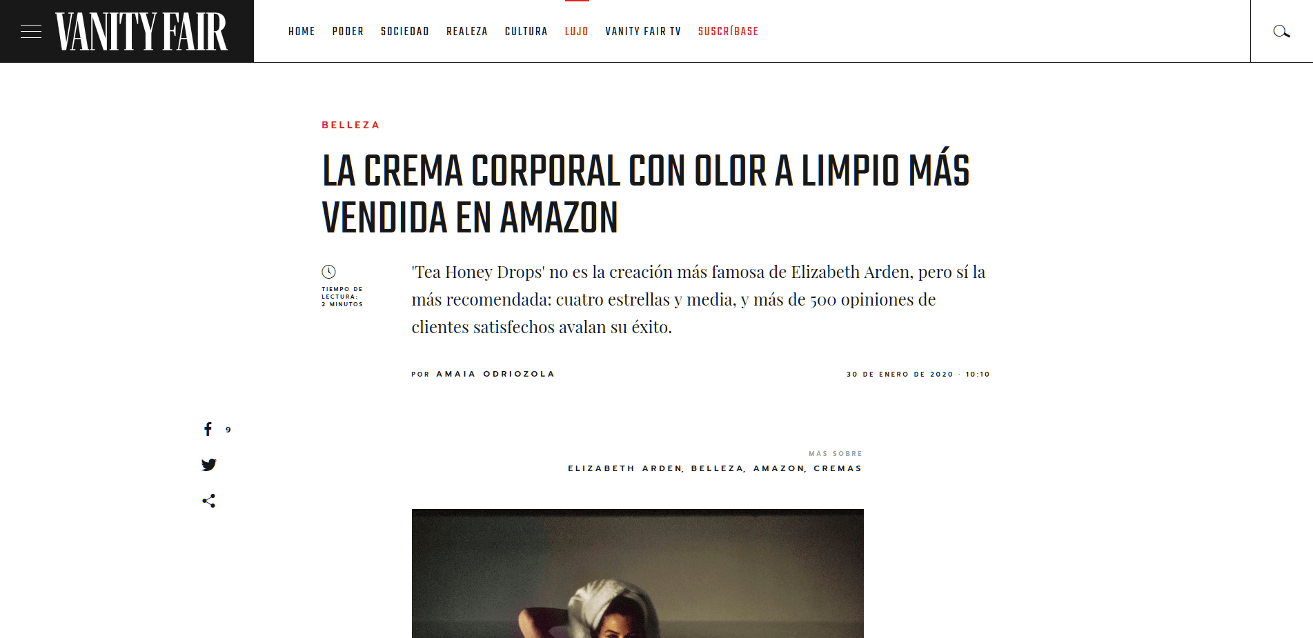 Press Tips Vanity Fair Sirope Vigo La crema corporal con olor a limpio más vendida en Amazon