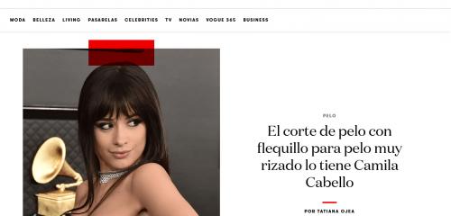Sirope Peluqueria Organica Vigo . El corte de pelo con flequillo para pelo muy rizado lo tiene Camila Cabello